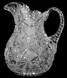 "WATER PITCHER - 9"" - ABCG : Lot 36 Crystal Glassware, Crystal Vase, Water Pitchers, Cut Glass, Kite, Pottery, Antiques, Diamond, Dresden"