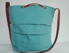 Bolsos de lona - Turquoise blue canvas Bag/ houlder Bag /strap  - hecho a mano por 13sferas en DaWanda