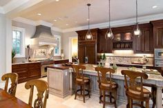 Traditional Kitchen L Shaped Kitchen Banquette Design, Pictures, Remodel, Decor and Ideas - page 34 Kitchen Lighting Fixtures, Kitchen Lighting Design, Kitchen Dining Room, Kitchen Ceiling Lights, Rustic Kitchen Lighting, Rustic Kitchen Backsplash, Rustic Kitchen Island, Beautiful Kitchens, Dining Room Lighting