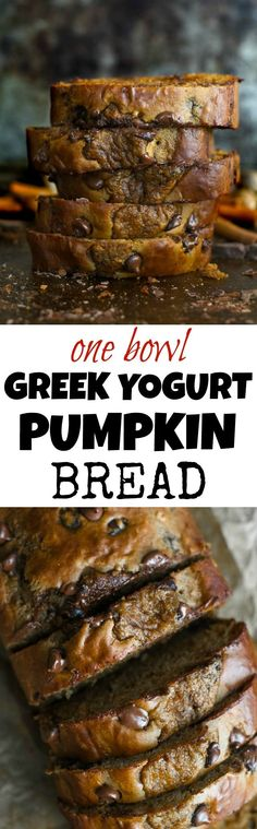 This One Bowl Greek Yogurt Pumpkin Bread recipe is made without butter, oil, or refined sugar, but so tender and flavourful that you'd never be able to tell it's healthy! | runningwithspoons.com