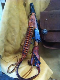 Leather Gunstock Butt Stock Cover Shell Holder No Drill Ranch Hand Mares Leg in Rifle