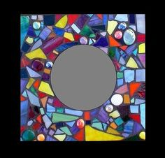 "Stained Glass Mosaic 12"" x 12"" Confetti Mirror: Rainbow Spectrum"