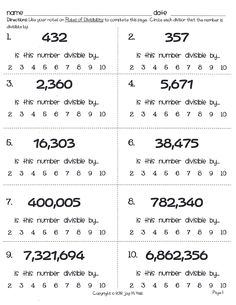 Acumen Divisibility Rules Games Printable Bing Images, Kindergarten Divisibility…