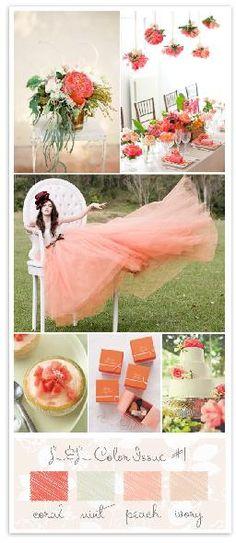 Paleta de cores: Branco, pêssego, coral e rosa