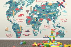 Explorer kids world map mural illustrated maps playrooms and kids s explorer kids world map mural wallpaper gumiabroncs Images