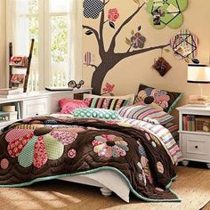 Beautiful way to decorate a little girls #room. Checkout our Brown Floral bedding #designs at http://www.visionbedding.com/Bedding/BrownFloral.php