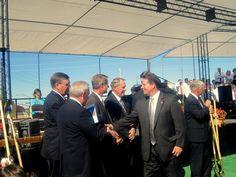 Shaking hands at the Gilbert AZ, Groundbreaking Ceremony.