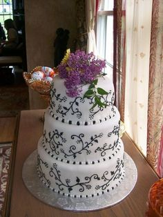 Small three tier cake for reception at home.