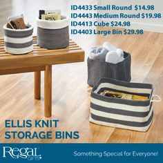 ELLIS KNIT BIN - from Regal Flexible hand-knit bins are perfect to keep everything organized. Use in the living room, bathroom, bedroom or anywhere. Made of durable polyproplene and are machine washable. Fold flat to store. http://www.Regal.ca/