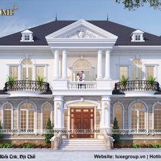 Thiết kế biệt thự tân cổ điển 2 tầng - BT 2198 ( Designing a 2-storey neoclassical villa - BT 2198 ) House Balcony Design, House Arch Design, Two Story House Design, House Outside Design, Classic House Design, Village House Design, Kerala House Design, Bungalow House Design, 2 Storey House Design
