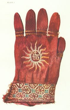 Ecclesiastical glove c. 1386 New College, Oxford crimson purl knitted silk embroidered on the backs and cuffs with gold. The octagon designs are separated by small squares of green silk, double band of embroidery around each finger. Renaissance, Hand Gloves, Antique Clothing, Medieval Clothing, Gold Embroidery, European History, Dark Ages, Green Silk, Metallic Thread
