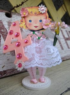 Vintage Inspired SuGaR SwEeT Happy Birthday 4 Year Old Paper Posy Doll