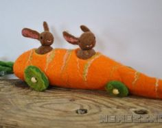 Carrot Car For Two Bunnies Toy Waldorf Easter Gift Spring Ooak Nature Wool Home Decor Funny Pretend Play Bunny Season Handmade Wet Felted -       Edit Listing   - Etsy