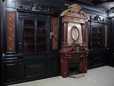 Rare Napoleon III paneled room in blackened wood with its monumental fireplace in stucco in imitation of porphyry (Reference - Available at Gallery Marc Maison Napoleon Iii, Second Empire, Architectural Antiques, Empire Style, Wood Paneling, Art Decor, Decoration, French Antiques, In The Heights