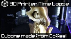 3D Printing Time Lapse - Cubone Pokemon 3DFuel Recycled Coffee 3D Printi...