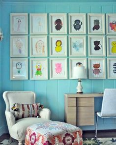 Such a cute way to display your children's (Or the kids you babysit) artwork!