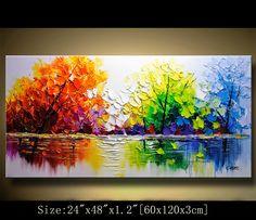 Contemporáneo Arte pintura al cuchillo de paleta colorido
