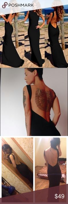 Backless Maxi Dress Black Sexy Bodycon Super sexy backless dress. Longer in back creating a small train. Ships same day if ordered by 10:09 CST. Bundle 3 items and save 15% Dresses Maxi
