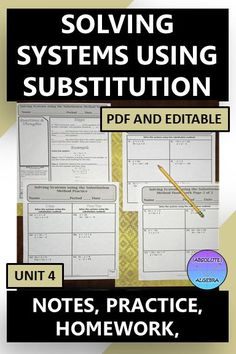 Teach your Algebra students how to solve systems using substitution with these easy to use, 100% editable, fill in the blank notes, practice, and homework worksheets. The homework aligns with the practice problems. Answer keys are included. #absolute algebra #solving systems #solving systems using substitution #notes #homework Math Resources, Math Activities, High School Curriculum, Maths Algebra, Secondary Math, 8th Grade Math, Word Problems, Math Lessons, Homework