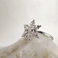 Snowflake ring Sterling Silver Winter by BarronDesignStudio, $24.00