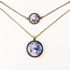 WANT!- Earth And Full Moon Two Tier Necklace, Multi Strand Necklace. $25.75, via Etsy.