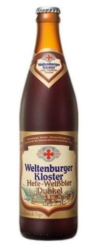 Cerveja Weltenburger Kloster Hefe-Weissbier Dunkel, estilo German Dunkelweizen, produzida por Klosterbrauerei Weltenburg, Alemanha. 5.3% ABV de álcool.