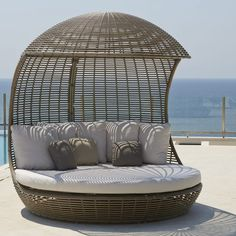 Want to transform your pool area or outdoor living space? Check out this luxurious outdoor daybed, featuring a stylish design and ultra-durable materials. Shop Katzberry for modern indoor and outdoor furniture. Outside Furniture, Outdoor Furniture Design, Pool Furniture, Rattan Furniture, Luxury Furniture, Futuristic Furniture, Plywood Furniture, Modern Furniture, Outdoor Daybed
