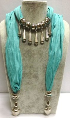 3-6 Day Delivery- Fashion Scarf With Jewelry Pendant With Silver Charms Accessory Scarves Designer Style Beaded Trendy Necklace Wrap Charm Elegant Turquoise Scarf