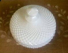 Vintage Westmoreland covered candy dish, Milk Glass dish, footed round candy dish by VintageSowles on Etsy