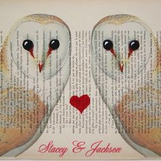 Your names with 2 owls in love ORIGINAL by Cocodeparis on Etsy
