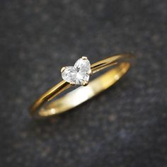 Heart Diamond Solitaire Engagement Ring - 0.3 carat Heart shaped GVS Diamond , 14K Yellow Gold, Size 6.75 - READY to ship