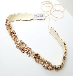 Rose Gold Crystal Bridal Belt- Custom Bridal Sash- Rhinestone, Sequin and Pearl Bridal Sash