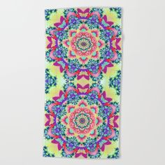 Whimsical floral kaleidoscope with butterflies Beach Towel