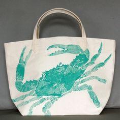 Big Crab Turquoise Canvas Bag