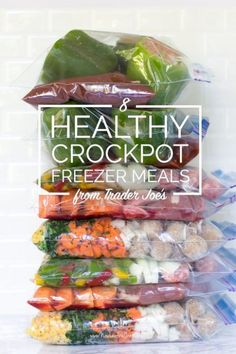 8 Healthy Crockpot Freezer Meals from Trader Joe's in 65 Minutes. These recipes are so easy and so delicious.the best part, all of the ingredients are from one of my favorite stores! Crock Pot Freezer, Healthy Freezer Meals, Dump Meals, Make Ahead Meals, Freezer Cooking, Healthy Snacks, Easy Meals, Healthy Recipes, Costco Freezer Meals