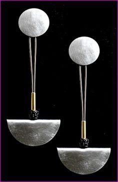 Earrings | Steven Kaufman.  Steel, 18K yellow gold, black diamond bead