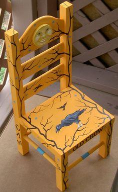 Crow Art Chair by Grim Prim's Deborah Sweigart