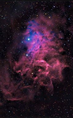 The Flaming Star Nebula (IC 405) IC405, aka the Flaming Star Nebula surrounds the blue star AE Aurigae and is a reflection/emission nebula in the constellation Auriga at a distance of ~1,500 light-years. This portion of the Flaming Star Nebula spans about 4 light-years.
