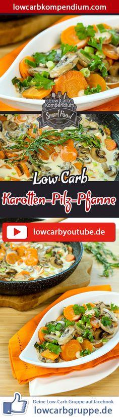 Die Karotten-Pilz-Pfanne ist einfach zuzubereiten, ist aber überraschend würzig und lecker. Einfach zum Hineinlegen :)    Dieses Low-Carb Rezept ist etwas für Vegetarier, die auch Milchprodukte auf Ihrem Speiseplan haben. Wer gerne Fleisch dazu hätte, der schnetzelt sich einfach das Fleisch seiner Wahl mit hinein. Auch köstlich mit Hackbällchen :)    Und nun wünschen wir dir viel Spaß beim Nachkochen, LG Andy & Diana.