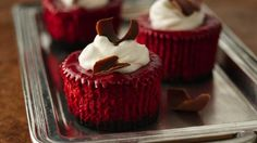 Very simple recipe for mini red velvet cheesecakes.  My boyfriend is going to love these for Valentines Day Dessert.