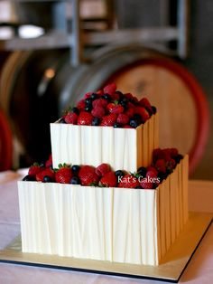 White Chocolate Berry Bliss Wedding Cake by Kat's Cakes, via Flickr