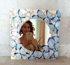 """Купить Зеркало """"Парящая мечта"""" - тёмно-синий, бабочки, зеркало, зеркало с бабочками, зеркало с росписью"""