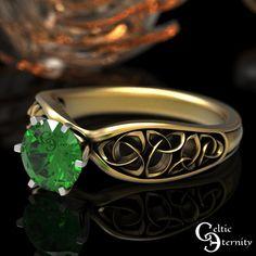 Celtic Gold Emerald Engagement Ring 1 Carat Solitaire Ring | Etsy Celtic Knot Ring, Celtic Rings, Mens Celtic Wedding Bands, Jewellery Shop Near Me, Celtic Engagement Rings, Platinum Wedding Rings, Thing 1, 1 Carat, Crystals And Gemstones