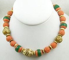 Vintage Coral & Ivory Celluloid Bead Necklace - Garden Party Collection Vintage Jewelry