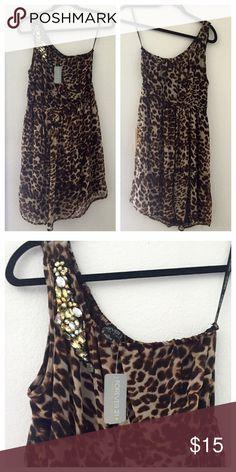Forever21 Plus Size One Shoulder Dress Up for sale is a wonder light chiffon one shoulder Leopard dress attach w/ rhinestones. ❌NO TRADES OR PP❌ Forever 21  Dresses One Shoulder