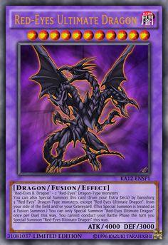 Red-Eyes Ultimate Dragon by Yugioh Dragon Cards, Rare Yugioh Cards, Custom Yugioh Cards, Yugioh Dragons, Yu Gi Oh, Resident Evil, Godzilla Figures, Pop Art, Legendary Monsters