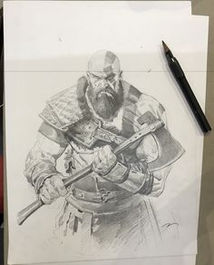ArtStation - Drawings and sketches, Mauro Belfiore Cool Art Drawings, Drawing Sketches, Pencil Drawings, Drawing Ideas, Sketching, Attack On Titan Tattoo, Character Art, Character Design, Kratos God Of War