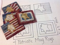 Rug Hooking Pattern, Little Flag Mug Rugs, on Primitive Linen or Monks Cloth, J819