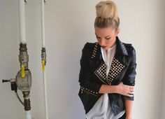 studded leather jacket, hairstyle, Style LimeLight