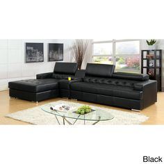 The ultimate contemporary sectional with bonded leather showered with enhanced center tufted designs. It offers uplifting comfort of smooth pneumatic gas lift headrests along with full body stretched chaise relaxer.